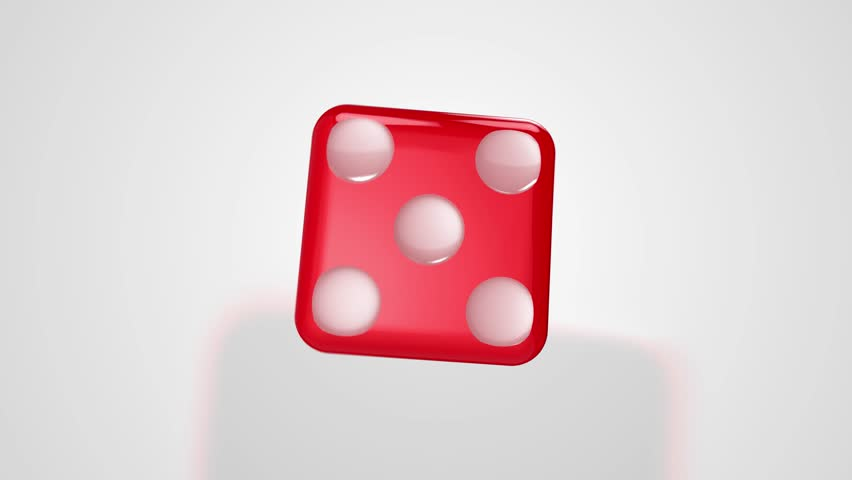 Rolling Red Dice Ends at Five 3D Animation with Alpha