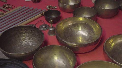 Tibetan Bowls and Tibetan Bells  Stock Footage Video (100