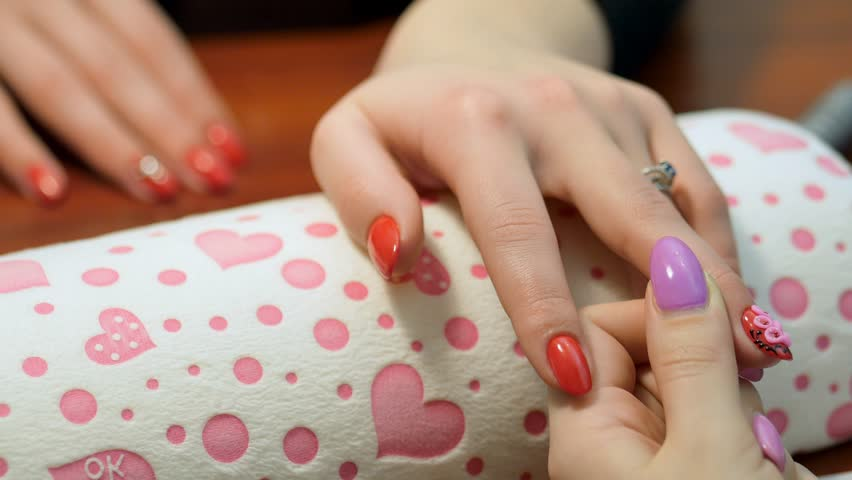 Stock video of manicure - volume floristry on nails.   23563069 ...