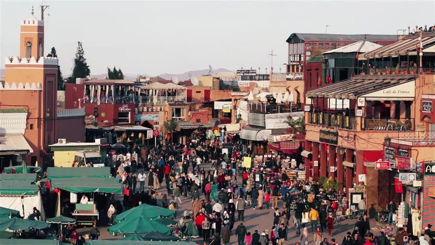 MARRAKECH, MOROCCO - 07 january, 2016: Jamaa el Fna, Jemaa el-Fnaa, Djema el-Fna or Djemaa el-Fnaa, square and market place in Marrakesh's medina quarter Marrakesh