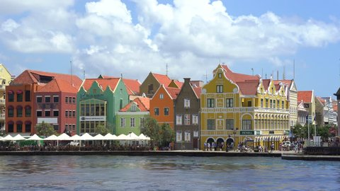 Caribbean city scape. Colorful buildings - October 2016. Willemstad downtown, Curacao