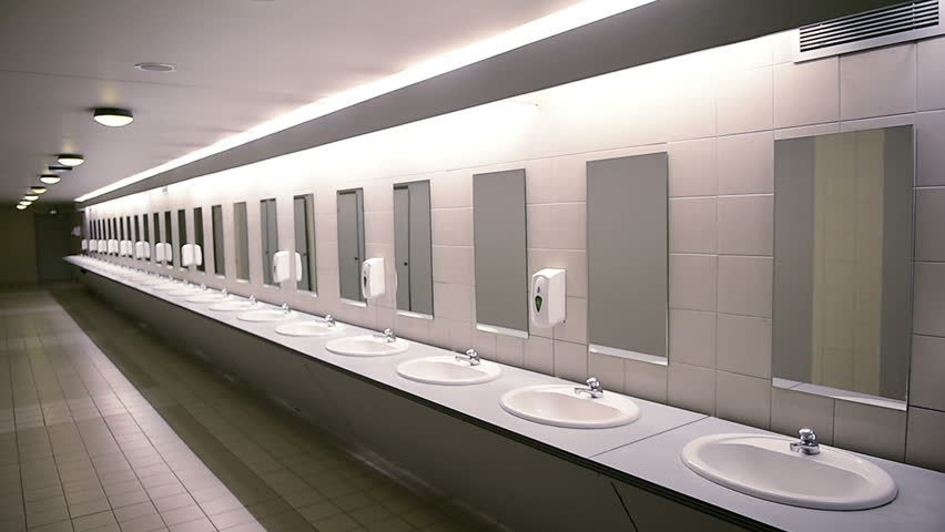 Stock video of public empty restroom with washstands and | 23593819 ...