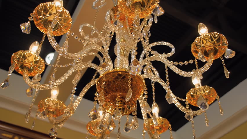 Beautiful Golden Color Crystal Chandelier Illuminates All Around ...