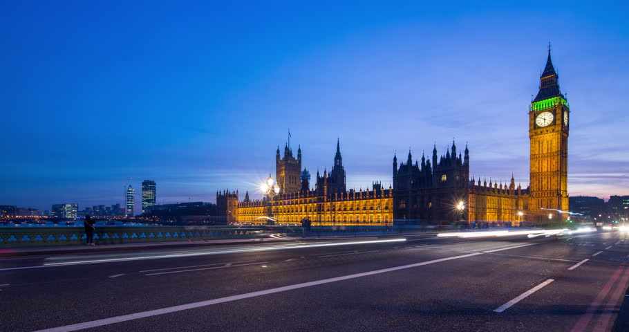 4K Time-lapse of Big Ben London England. At dusk with light trails from the traffic | Shutterstock HD Video #23622829