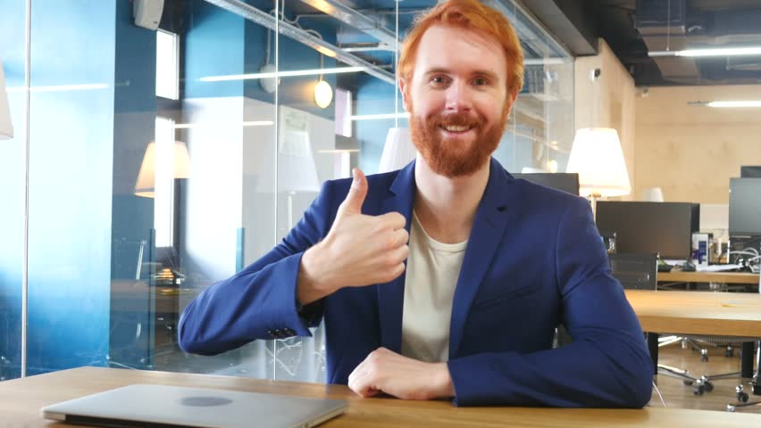 Thumbs Up by Man in Office, Red Hairs | Shutterstock HD Video #23637079