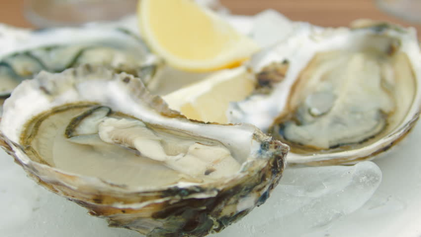 Super close-up of fresh oysters on a white plate with ice. The circular movement of the camera