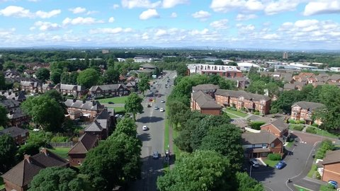 Drone shot of a highway in Manchester, England, side