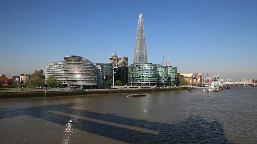 LONDON, ENGLAND   MAY 25: South Bank Skyline Featuring The Shard London  Bridge On