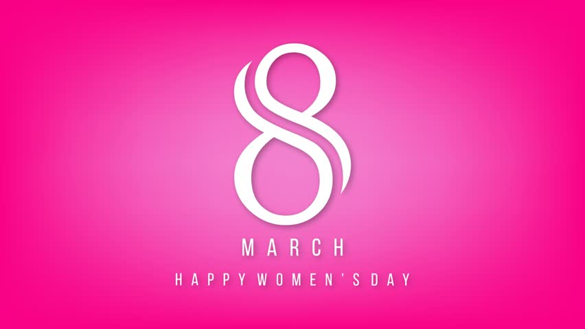 8th march womens day animated lettering pink background with happy womens day greeting card gift card on pink background with design of a women sciox Choice Image