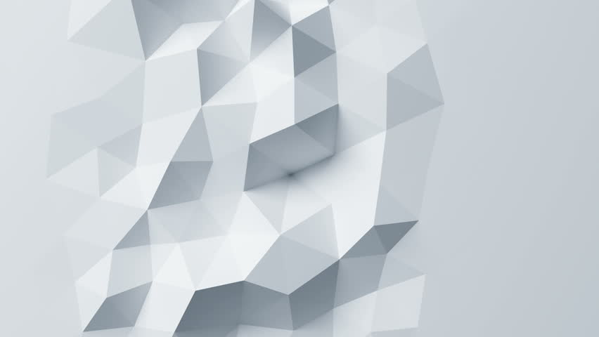 Beautiful White Low Poly Surface Morphing in Abstract 3d Animation. Seamless Background in 4k, 3840x2160, Ultra HD.