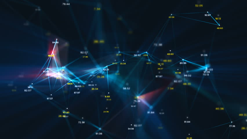 Digital Data Points Network Loop 1A: dark background, rotating flickering mesh cloud of connections with blue lines, random percentage number values in blue and yellow. 4K UHD, FullHD, seamless loop.  | Shutterstock HD Video #23768194