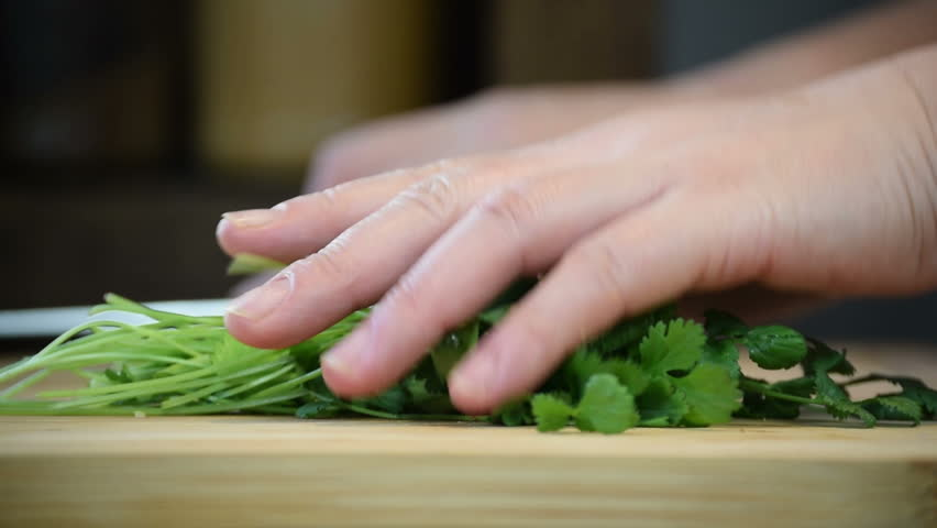 Close-up of professional chef's hands using knife to chop small bunch coriander for cooking & garnish