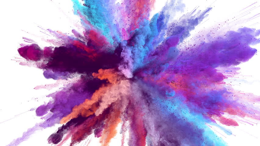 Cg animation of powder explosion with blue, red, orange and violet colors on white background. Slow motion movement with acceleration in the beginning. Has alpha matte. | Shutterstock Video #23786773