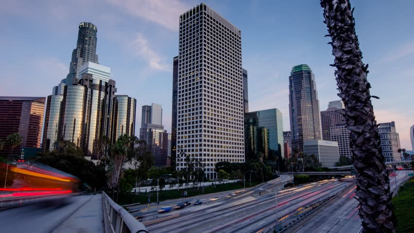 Freeway traffic in downtown Los Angeles. Motion timelapse hyperlapse. | Shutterstock HD Video #2379662