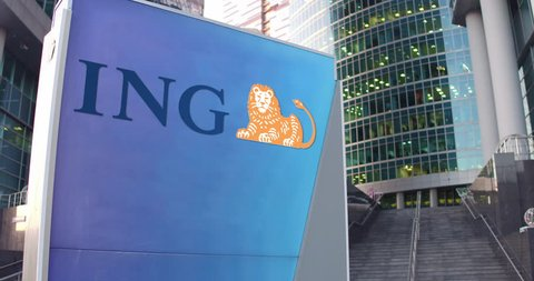Street signage board with ING Group logo. Modern office center skyscraper and stairs background. Editorial 3D rendering 4K