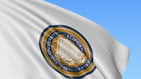 Close-up of waving flag with University of California Berkeley emblem, seamless loop, blue background. Editorial animation. 4K