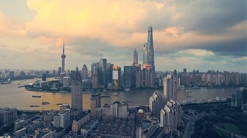 Shanghai Lujiazui business district Aerial.
