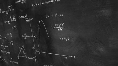 math physics formulas on chalkboard panning, computer generated loopable motion background. HD 1080 progressive
