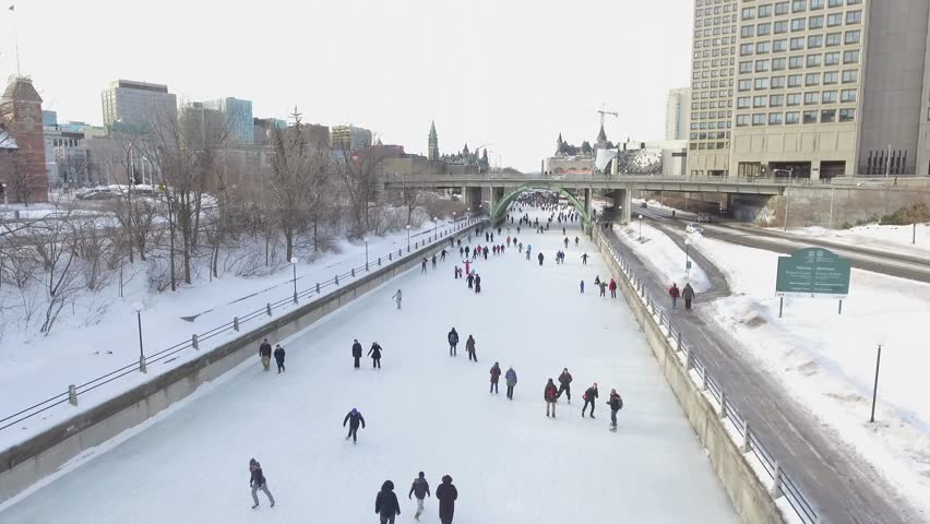 aerial rideau canal busy downtown ottawa canada winter 4k