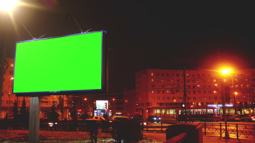 A Billboard with a Green Screen on a Streets | Shutterstock HD Video #23935273