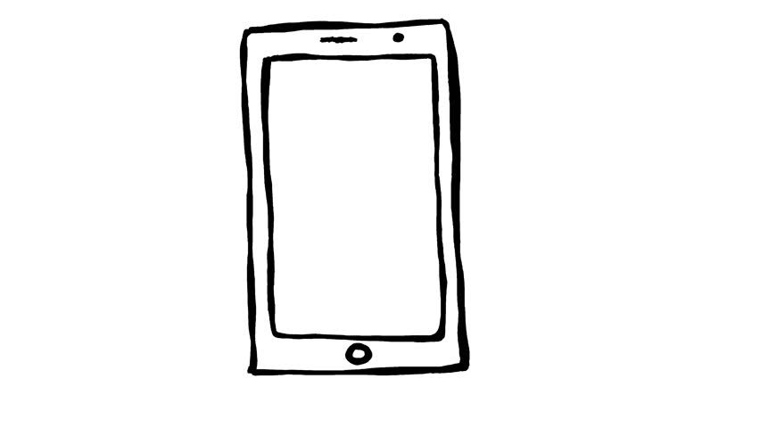Handmade smartphone or tablet device doodle animation. Pure white background.