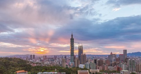 4K timelapse of sunset at City of Taipei day to night(Smooth no flickering )