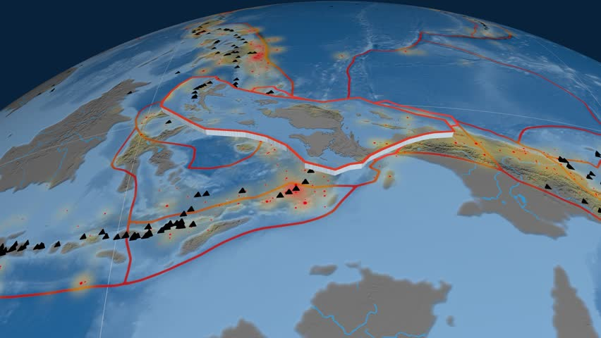 Birds Head tectonics featured. Topo and bathy. Plate extruded and animated against the globe. Tectonic plates borders (newest division), earthquakes by strength & volcanic cones   Shutterstock HD Video #23961169