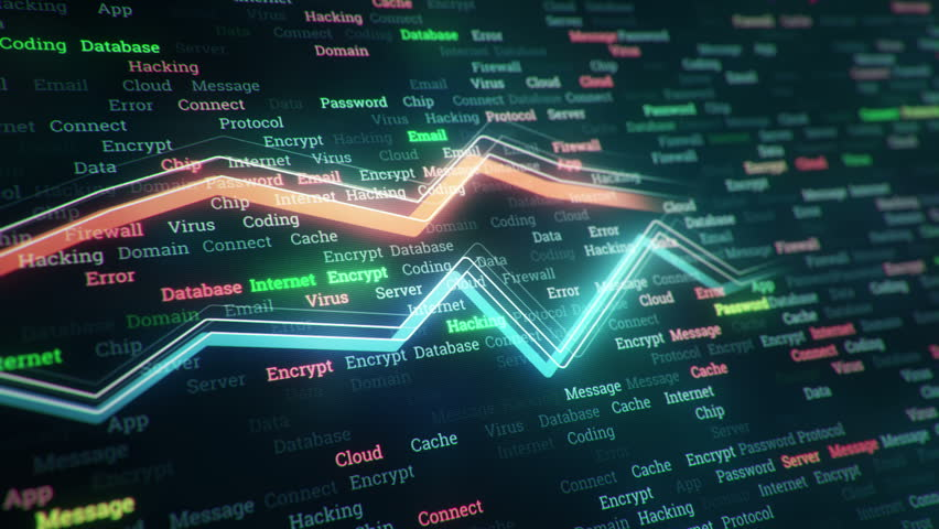 Technological background with growth of charts and graphs on binnary code backdrop. Symbols of business or finance with glowing glass surface. Seamless loop. | Shutterstock HD Video #23970286