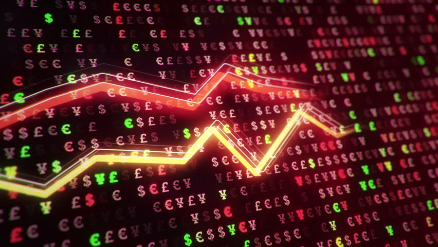 Technological background with growth of charts and graphs on binnary code backdrop. Symbols of business or finance with glowing glass surface. Seamless loop. | Shutterstock HD Video #23970583