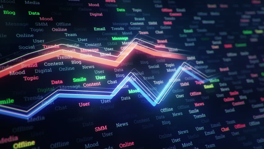 Technological background with growth of charts and graphs on binnary code backdrop. Symbols of business or finance with glowing glass surface. Seamless loop. | Shutterstock HD Video #23971738