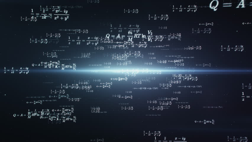 Computer animated mathematics and physics formulas flying through abstract digital space