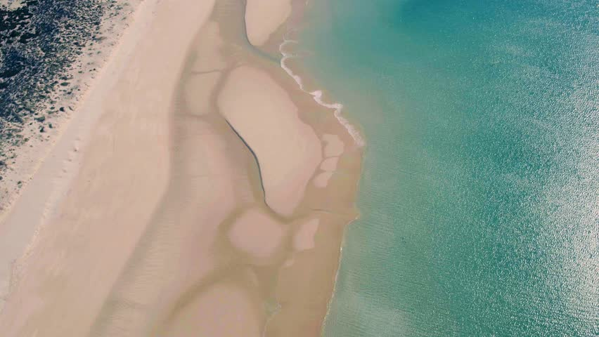 Aerial View Amazing Seascape with Small Waves on Sandy Beach, Portugal   Shutterstock HD Video #24002029