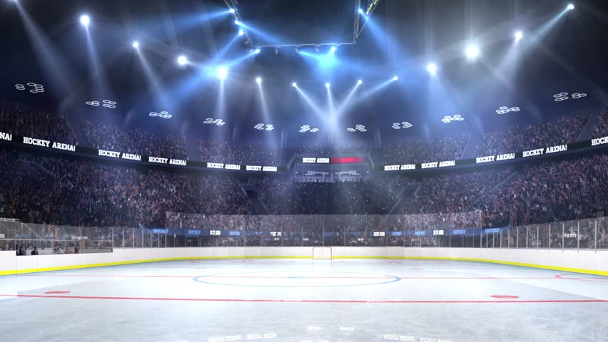 Hockey court with people fan. Sport arena. Ready to start championship. 3d render. Moving lights  | Shutterstock HD Video #24013759