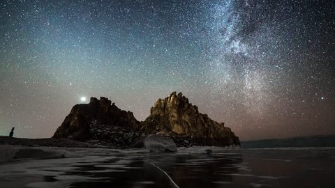 4K. Starry night over the lake Baikal. Irkutsk region, Russia, 3840x2160. Time lapse from day to night on frozen lake and broken ice. Fast clouds. Hills.