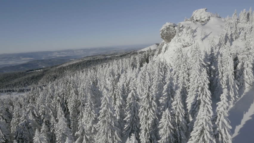 Winter Mountain, Snow Covered, Aerial, Drone