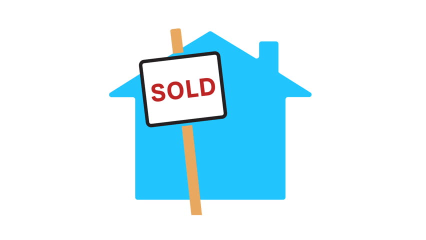 Motion animation of a sold sign and a house