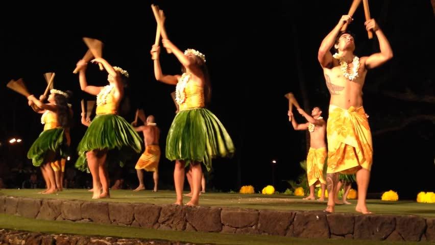 Polynesian Hula Dancers at a Luau - Maui, Old Lahaina.