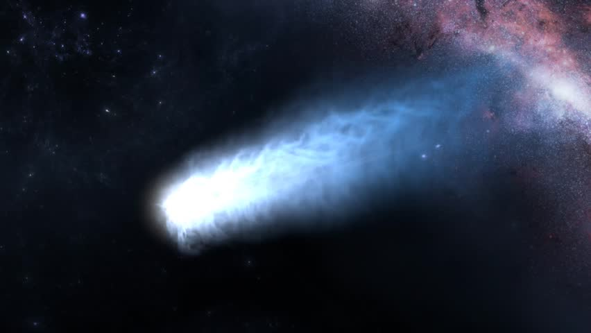 3D rendering, beautiful close up view blue comet