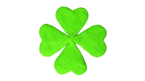 Clover four leaf. St. Patrick's day. Alpha matte