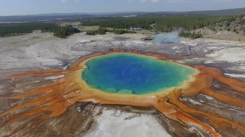 Camera circles the Grand Prismatic Spring in Yellowstone National Park