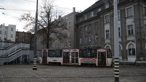 Old broken tram depot in the city of Szczecin, Poland