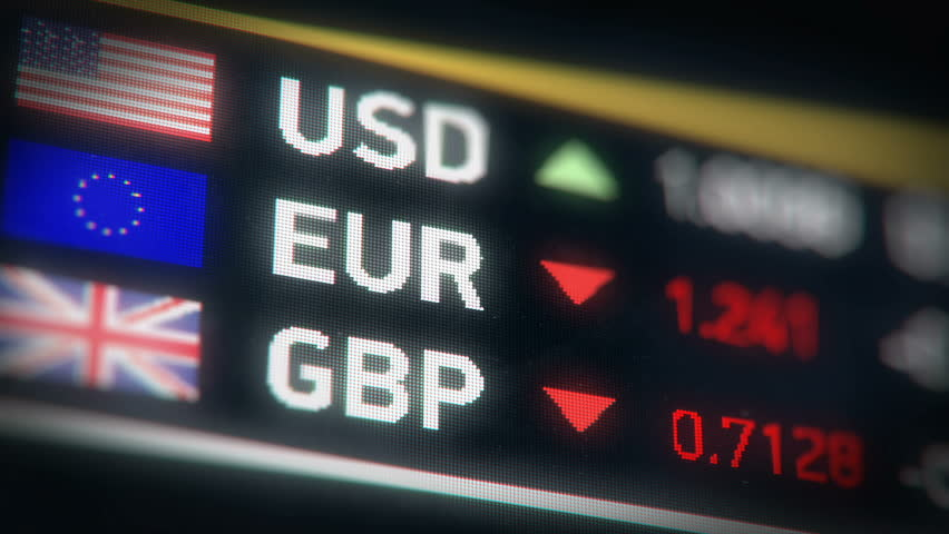 British pound, Euro, US dollar comparison, currencies falling, financial crisis. European Union and Great Britain currencies plummet down after Brexit | Shutterstock HD Video #24109759