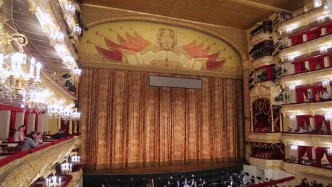MOSCOW, RUSSIA – June, 18: The Bolshoi theater, the interior of the historical scene before the show.