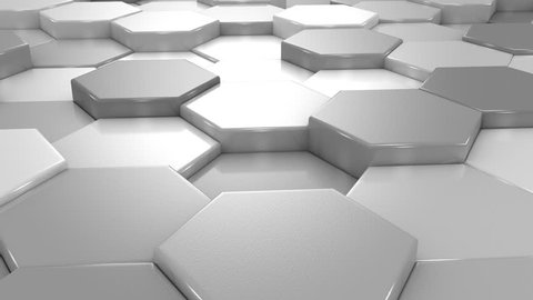 Animated Gray Honeycombs. Abstract background, loop, created in 4K, 3d animation