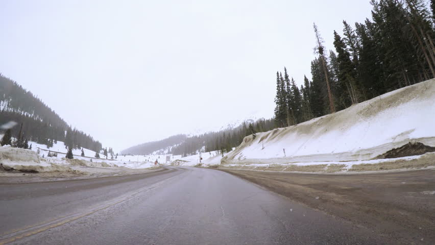 POV point of view - Driving over Loveland Pass in the winter.   Shutterstock HD Video #24195799