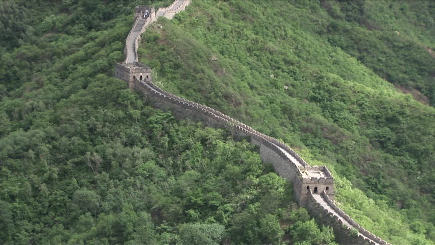 Wide shot of Great Wall of China makes it seem so little in Beijing China