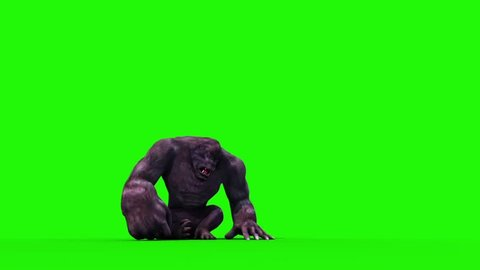 Gorilla Screams and Dies Front Animals 3D Rendering Green Screen Animation