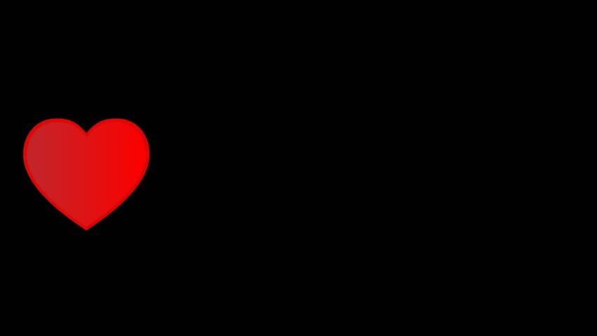 Grey And Red Heart. Heartbeat On Black Background. Video ...