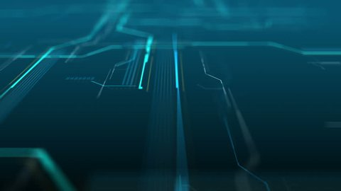 Abstract digital background made of different shapes with hight detailed elements. Rich details and depth of field effect. Geometry lines with dashes and glow. 3d rendering. Loop video.