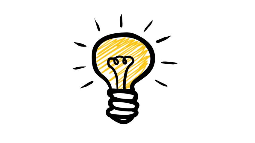 Light Bulb Hand Drawn Animation   4K Stock Footage Clip